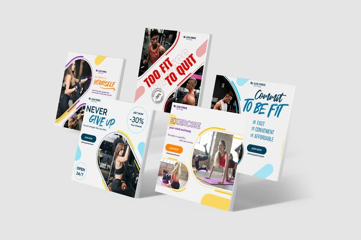 Thumbnail for Fitness, Yoga Instagram Posts PSD Template