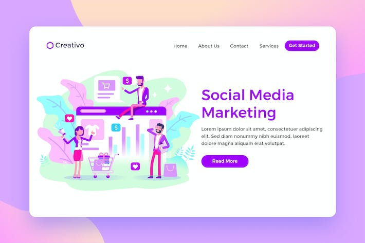 Thumbnail for Social Media Marketing Team Ecommerce Landing Page