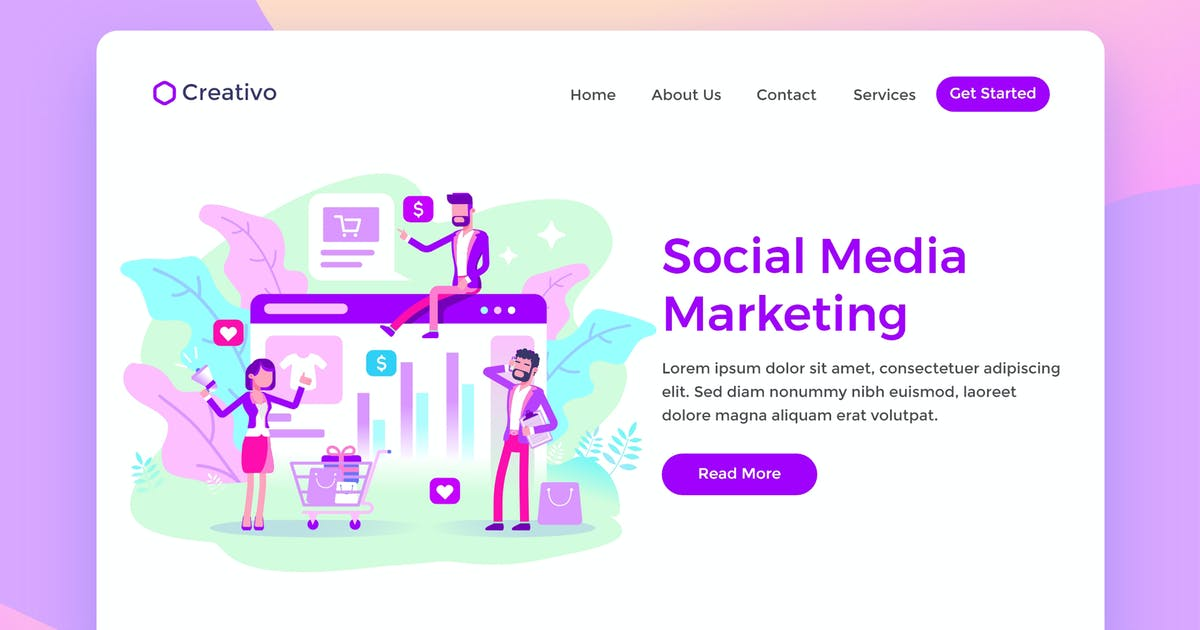 Download Social Media Marketing Team Ecommerce Landing Page by NEWFLIX