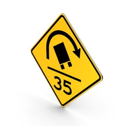 Road Sign Truck Rollover Warning