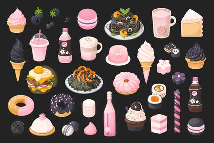 Black and pink food
