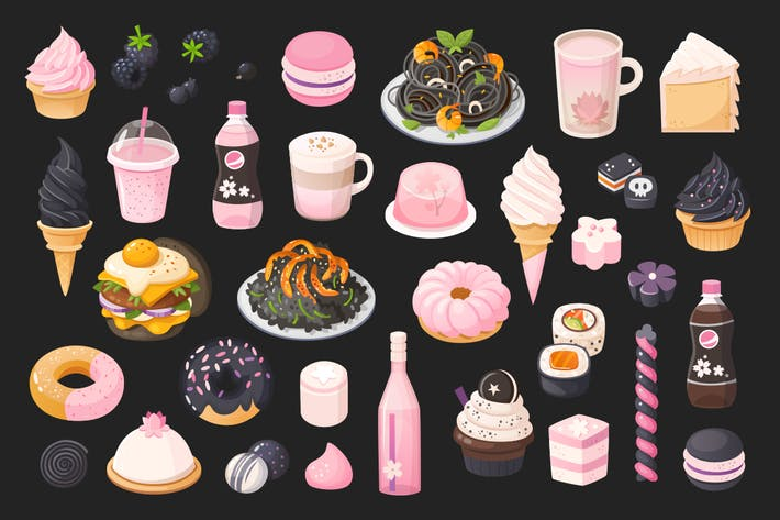 Thumbnail for Black and pink food