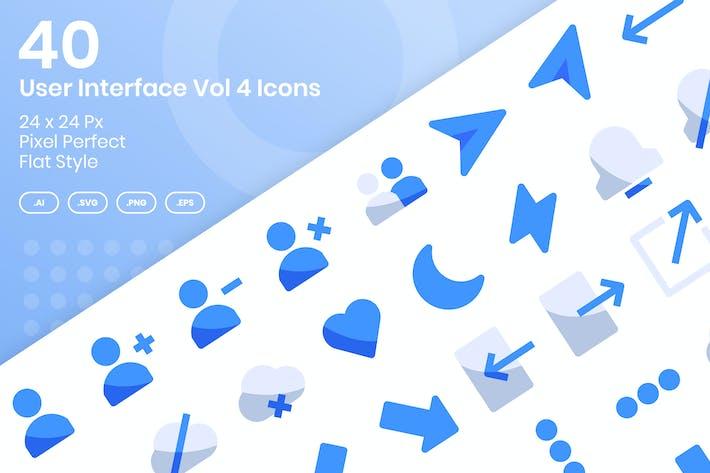 40 Пользовательский интерфейс Vol 4 Набор Иконки к - плоский