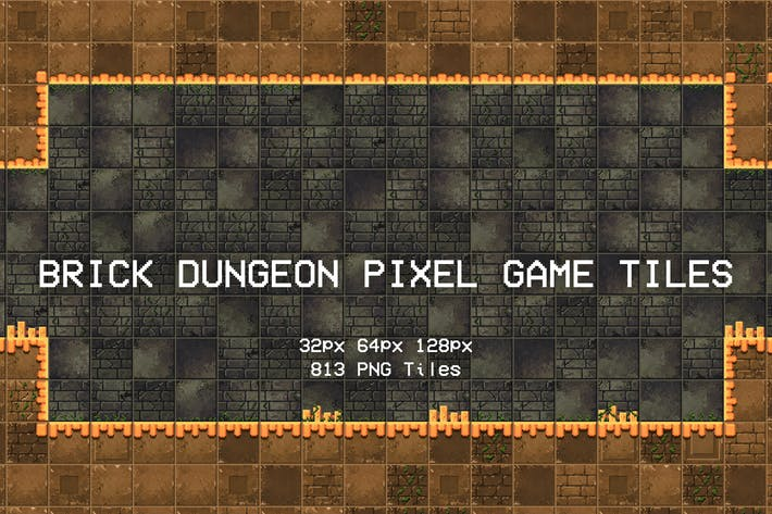 Brick Dungeon Pixel Game Tiles