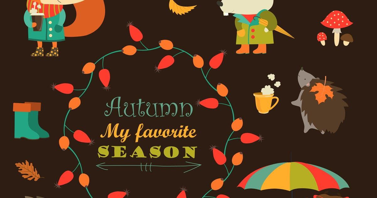 Download Cartoon characters and autumn elements. Vector by masastarus