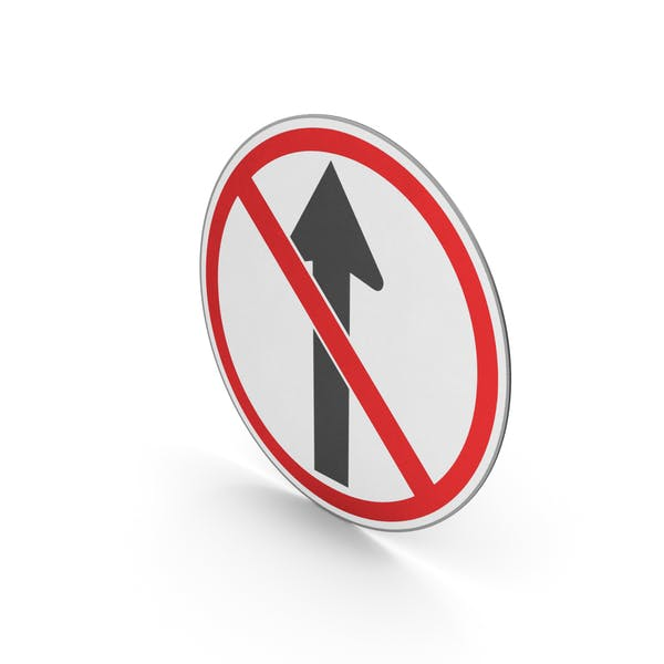 Thumbnail for Road Sign No Straight Ahead