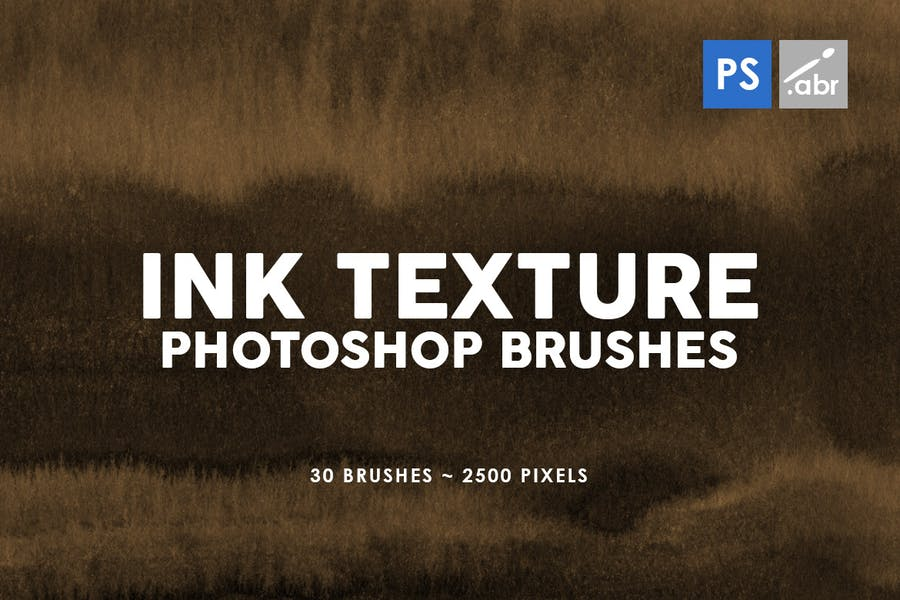 30 Ink Texture Photoshop Brushes Vol. 3