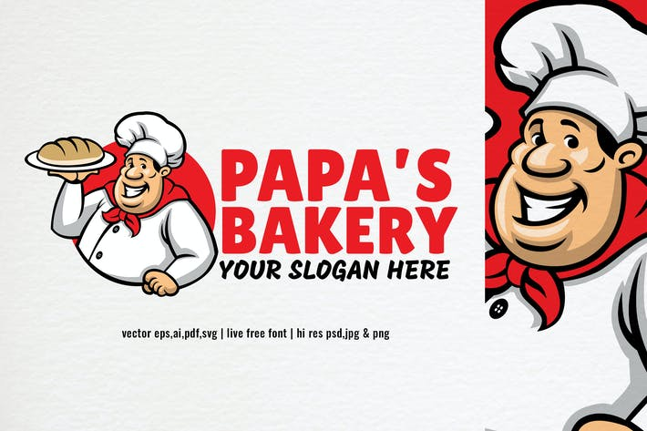 Thumbnail for cartoon style chef bakery logo