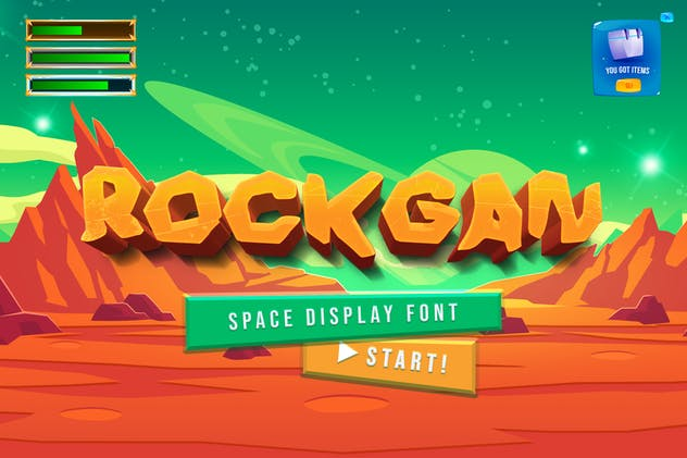 Rockgan Space Game Display Font