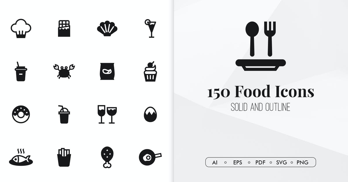 Download 150 Food minimal icons by Chanut_industries