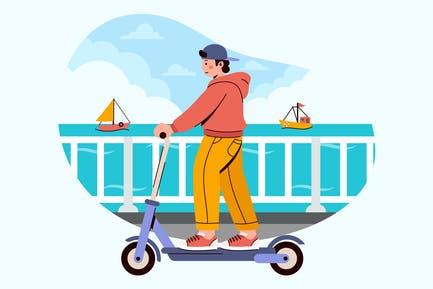 Riding Scooter Illustration