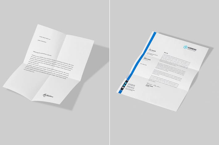 Thumbnail for 2 Folded Letterhead Mock Up