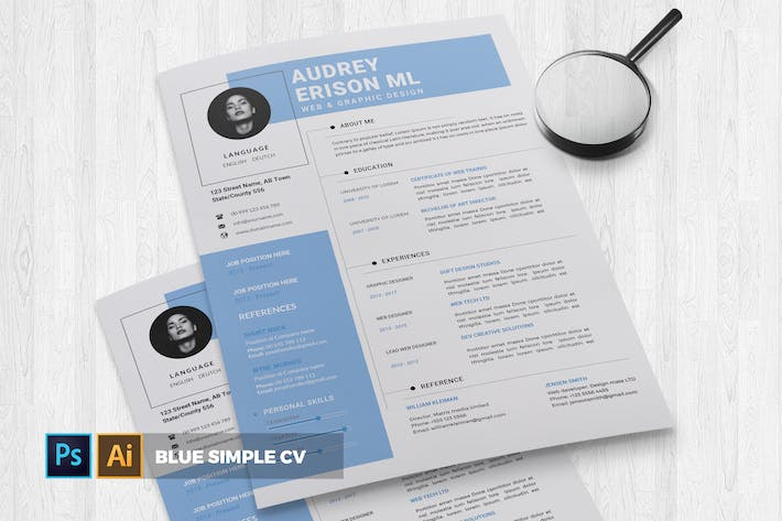 Thumbnail for Blue Simple | CV & Resume