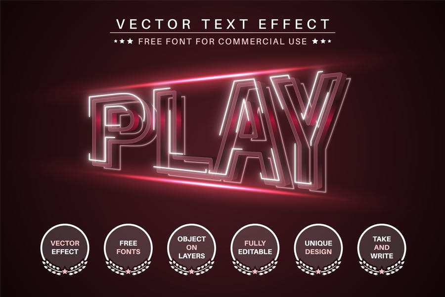 Red Play - Editable Text Effect, Font Style