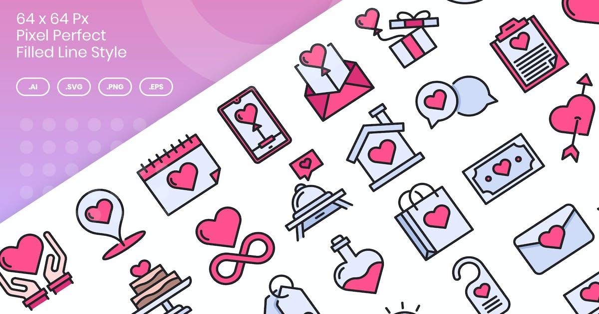 Download 40 Love & Valentine Icons Set - Filled Line by kmgdesignid