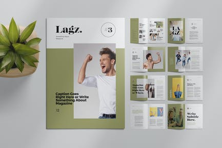 Magazine Layout with Photo Placeholders