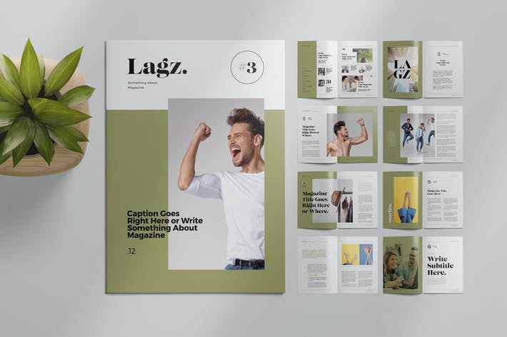 Thumbnail for Magazine Layout with Photo Placeholders