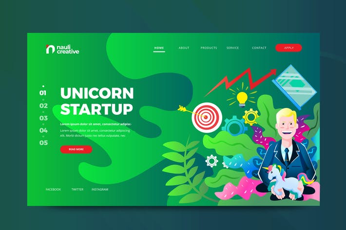 Thumbnail for Unicorn Startup Web PSD and AI Vector Template