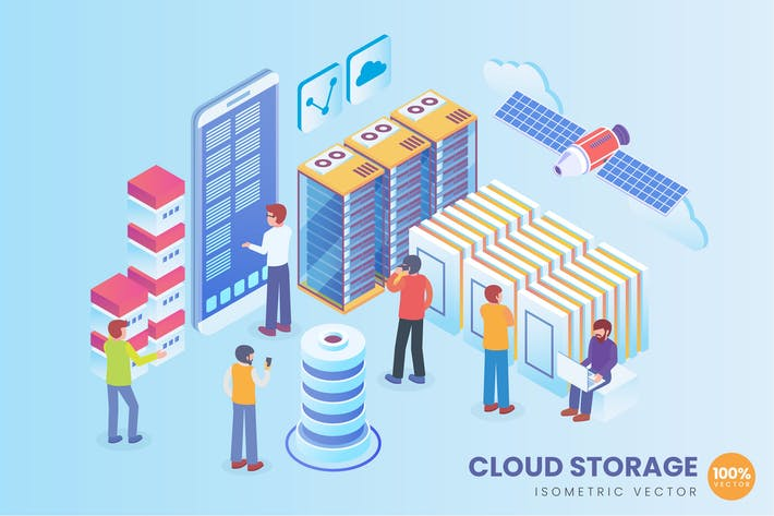 Isometric Cloud Storage Technology Vector Concept