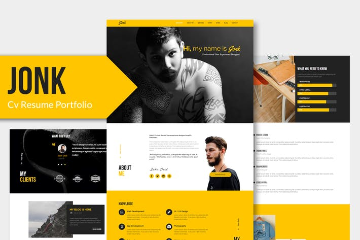 Cover Image For JONK - CV Resume Personal PSD Template YR