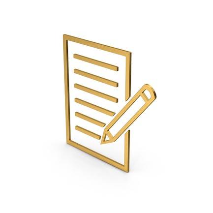 Documento de símbolo con bolígrafo dorado