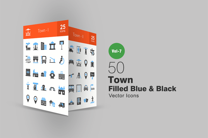 Thumbnail for 50 Town Blue & Black Icons