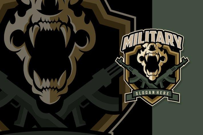 Skull Military Weapon Mascot Logo