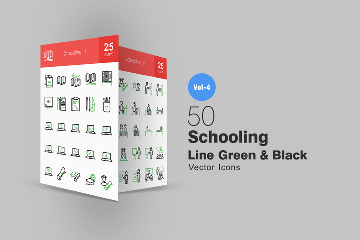 Thumbnail for 50 Schooling Line Green & Black Icons