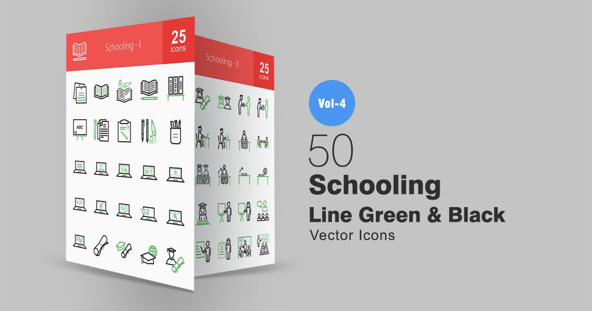 Download 50 Schooling Line Green & Black Icons by IconBunny