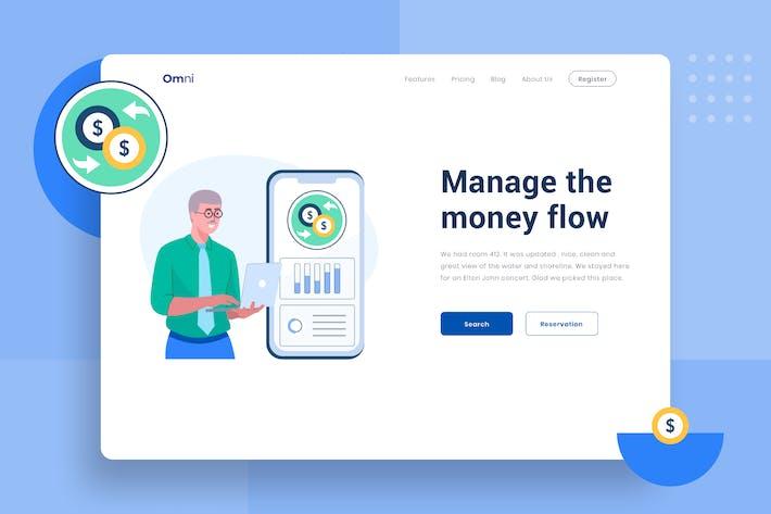 Thumbnail for Verwalten des Geldflusskopfs Illustration