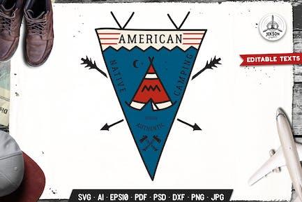 American Native Camping Pennant Retro Travel Badge