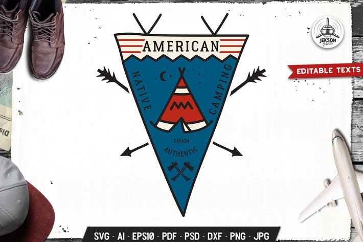 Thumbnail for American Native Camping Pennant Retro Travel Badge