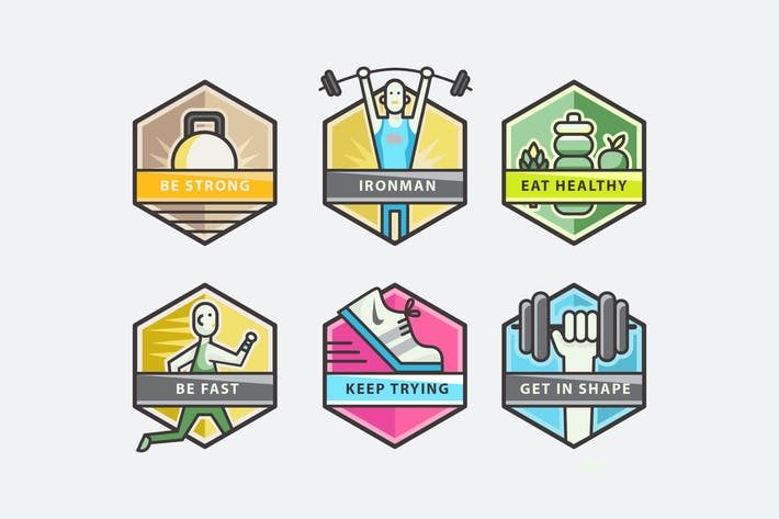 Thumbnail for Fitness Hexagon Badges
