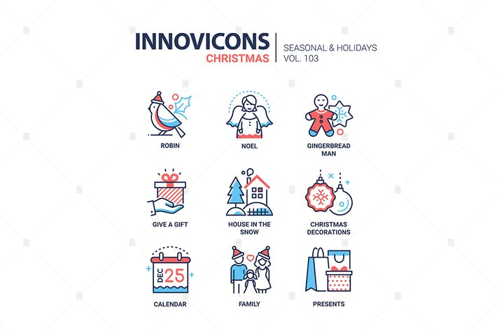 Thumbnail for Christmas symbols line design style icons set