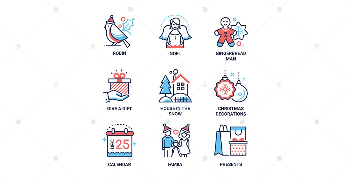 Download Christmas symbols line design style icons set by BoykoPictures