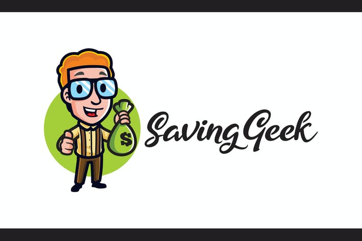 Thumbnail for Cartoon Saving Geek Mascota Logo