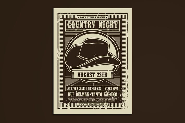 Thumbnail for Country Music Night Flyer