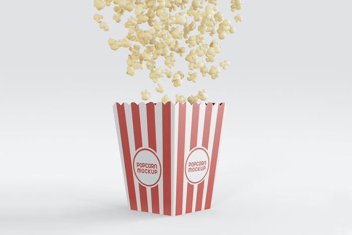 Thumbnail for Bucket with Popcorns Flying Mockup.