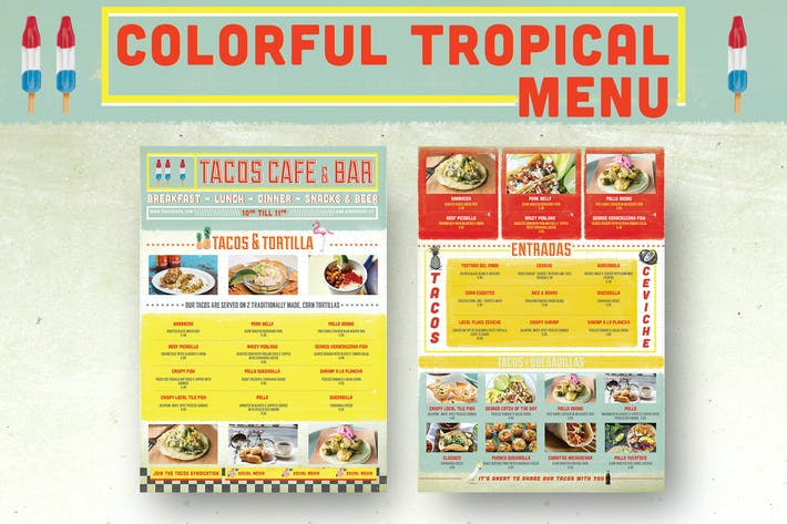 Thumbnail for Colorful Tropical Menu