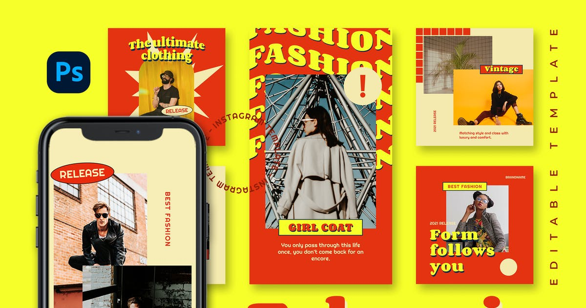 Download Ecohesi - Retro Instagram Stories and Post by TanahAirStudio