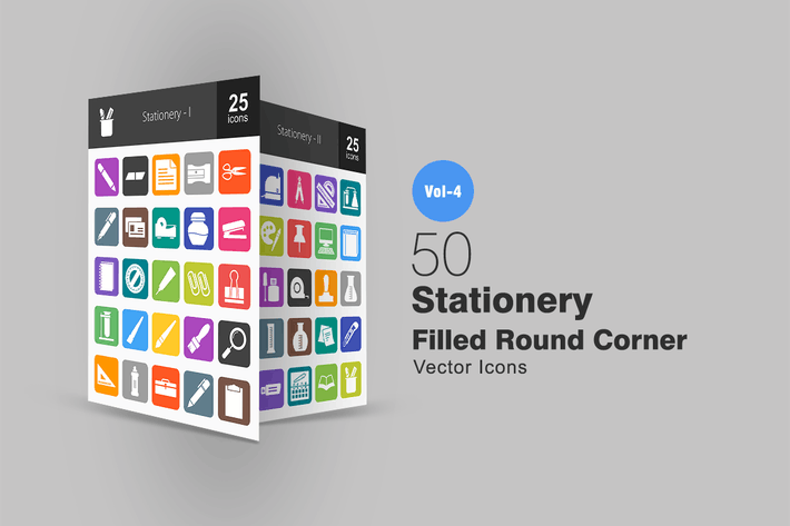 Thumbnail for 50 Stationery Flat Round Corner Icons