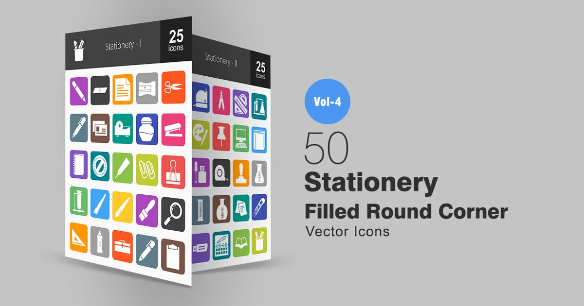 Download 50 Stationery Flat Round Corner Icons by IconBunny