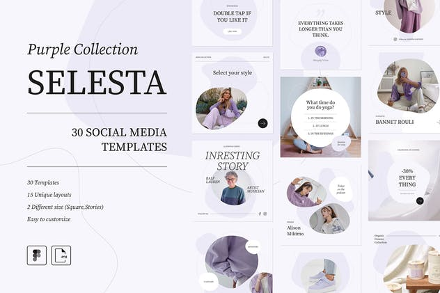 Selesta Purple Social Templates