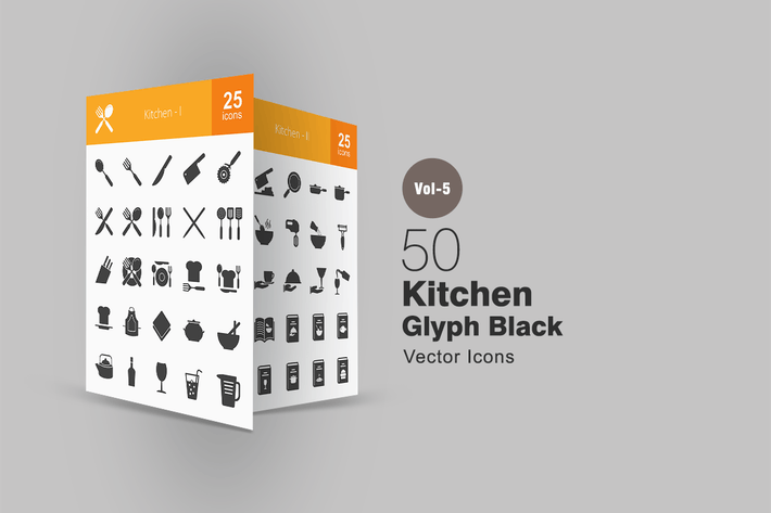 Thumbnail for 50 Kitchen Glyph Icons