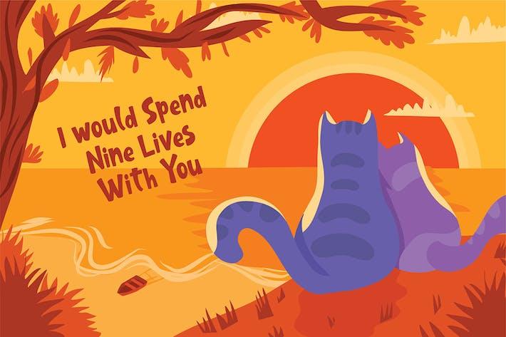 Cat Love Couple - Vector Illustration