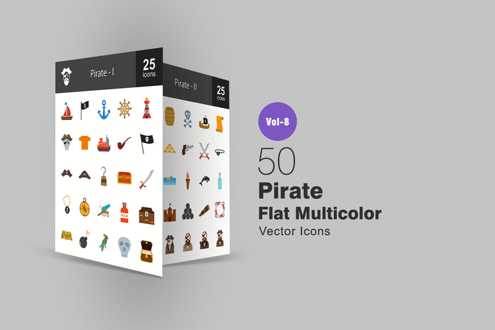Thumbnail for Pirate Flat Multicolor Icons