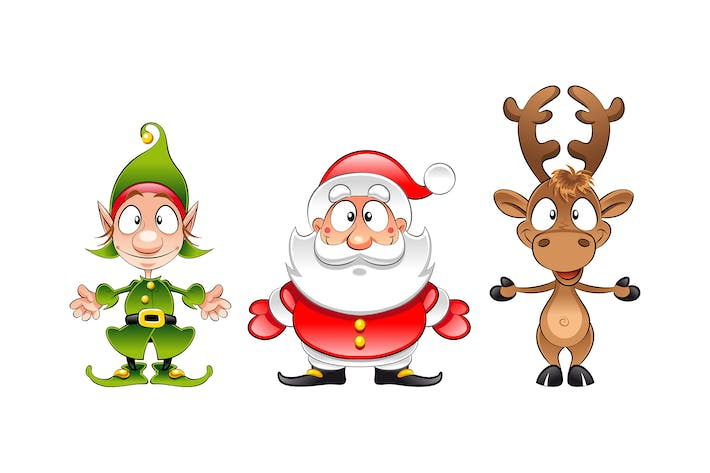 Santa Claus, Elf and Reindeer
