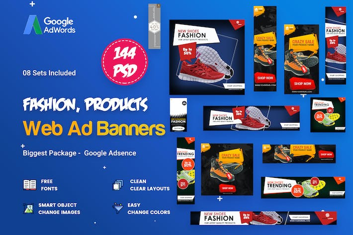 Thumbnail for Product Banners Ads - 144 PSD [08 Sets]
