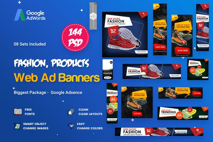 Cover Image For Product Banners Ads - 144 PSD [08 Sets]
