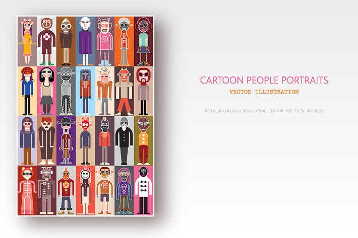 Thumbnail for Cartoon people portraits, flat style avatar bundle